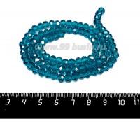 Бусина хрустальная на нити 6*4 мм, цвет сине-зелёный около 100 штук/нить 057662 - 99 бусин