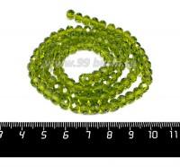 Бусина хрустальная на нити 6*4 мм, цвет оливковый около 100 штук/нить 057663 - 99 бусин