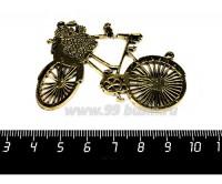Коннектор Девичий Велосипед 59*42 мм, цвет античное золото, 1 штука 057723 - 99 бусин