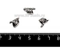 Бусина металл. Птичка 13*8 мм, внутреннее отверстие - 4 мм, цвет старое серебро 1 штука 057727 - 99 бусин