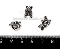 Бусина металлическая Панда 14*8 мм, внутреннее отверстие - 4 мм, цвет старое серебро 1 штука 057729 - 99 бусин