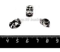 Бусина металлическая Сипуха 13*8 мм, внутреннее отверстие - 4 мм, цвет старое серебро 1 штука 057730 - 99 бусин