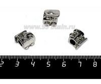 Бусина металлическая Паровозик 11*10 мм, внутреннее отверстие - 4 мм, цвет старое серебро 1 штука 057731 - 99 бусин