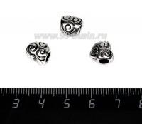 Бусина металлическая Сердечко Завитки 10*9, внутреннее отверстие - 4 мм, цвет старое серебро 1 штука 057733 - 99 бусин