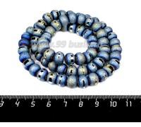 Бусины стеклянные на нити Метеориты 9*7 мм, шероховатые/гладкая полоска, цвет зеленовато-голубой, около 48 см нить/70 бусин 057813 - 99 бусин