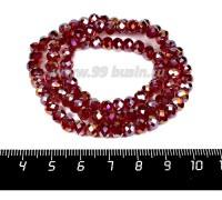 Бусина хрустальная на нити 6*4 мм, цвет темно-рубиновый/бензин около 100 штук/нить 057831 - 99 бусин