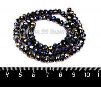 Бусина хрустальная на нити 6*4 мм, цвет черный/бензин около 100 штук/нить 057832 - 99 бусин