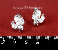 Швензы ювелирные Птичка 12*17 мм, посеребрение 12 мкн 1 пара Россия 057839 - 99 бусин