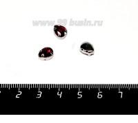 Стразы стеклянные пришивные в цапах Капелька 8*6 мм цвет насыщенный красный, 1 штука 057856 - 99 бусин