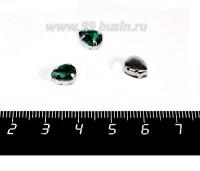 Стразы стеклянные пришивные в цапах Капелька 8*6 мм цвет изумрудный, 1 штука 057857 - 99 бусин