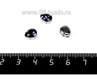 Стразы стеклянные пришивные в цапах Капелька 8*6 мм цвет синий полуночный, 1 штука 057858 - 99 бусин