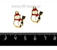 Подвеска Веселый Снеговичок, 22*15 мм, цвет золотистый, белая, зеленая, красная эмаль, 1 штука 057868 - 99 бусин