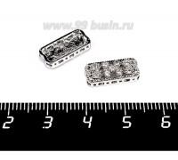 Бусина-разделитель Премиум плоская с цирконами, 7 отверстий по длинной и 3 отверстия по короткой стороне, 14,5*7 мм, родированная 1 штука 057901 - 99 бусин