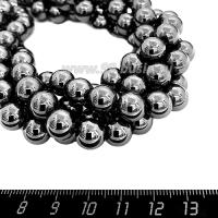 Натуральный камень ГЕМАТИТ бусины круглые 10 мм блестящие, цвет натуральный, около 40 см/нить 057913 - 99 бусин