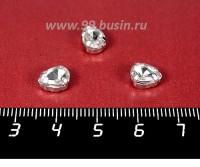 Стразы стеклянные пришивные в цапах Капелька 8*6 мм бесцветные прозрачные, 1 штука 057928 - 99 бусин