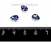 Стразы стеклянные пришивные в цапах Капелька 8*6 мм цвет лазурно-синий, 1 штука 057931 - 99 бусин