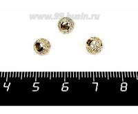Бусина Премиум Шарик 6 мм с бесцветными микроцирконами, золотистый 1 штука 057936 - 99 бусин