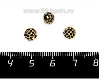 Бусина Премиум Шарик 6 мм с чёрными микроцирконами, тёмное золото 1 штука 057937 - 99 бусин