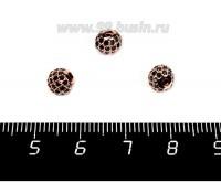 Бусина Премиум Шарик 6 мм с чёрными микроцирконами, розовое золото 1 штука 057938 - 99 бусин