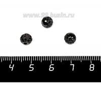 Бусина Премиум Шарик 6 мм с чёрными микроцирконами, чёрный 1 штука 057939 - 99 бусин