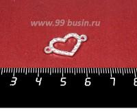 Коннектор Сердечко из Страз, 20*11 мм, две петли, цвет светлое серебро,  1 штука 057989 - 99 бусин
