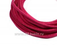 """Шнур искусственный """"Замша"""" 2,5*1 мм цвет малиновый джем 3 отрезка по 1 метру/упаковка 058026 - 99 бусин"""