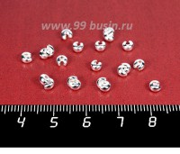 Крышечки кримпов 2,5 мм цвет светлое серебро 20 штук/упаковка 058046 - 99 бусин