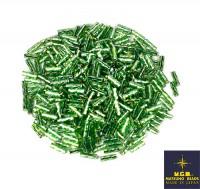 Стеклярус витой Matsuno 49R SP спираль 6 мм, цвет светло-зеленый/радужный серебристое отверстие, Япония 10 граммов 058054 - 99 бусин