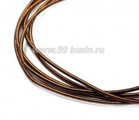 Канитель гладкая жесткая 1,25 мм, цвет старая медь патина, пр-во Индия, упаковка 5 грамм (разные отрезки, общая длина около 0,9 метров) 058077 - 99 бусин