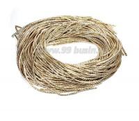Канитель ОПТ (трунцал) витая с насечкой 2 мм, цвет светлое золото, пр-во Индия, упаковка 50 грамм (разные отрезки, общая длина около 15 метров) 058123 - 99 бусин