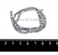 Бусины хрустальные на нити форма Рондель 3,5*2,5 мм цвет прозрачный/серебристый, 39 см нить/около 145 бусин 058157 - 99 бусин