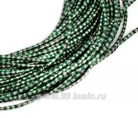 Канитель FANCY 1,5 мм гладкая упругая, цвет green/silver (зеленый/серебристый) 5 граммов (около 1,5 метров) 058172 - 99 бусин