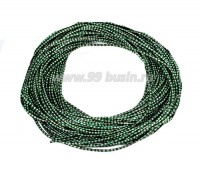 Канитель ОПТ FANCY 1,5 мм гладкая упругая, цвет green/silver (зеленый/серебристый) 50 граммов (около 17 метров) 058173 - 99 бусин