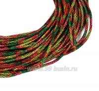 Канитель FIBER FANCY (медь+нейлон) 1,7 мм гладкая упругая, цвет green/orange multi (зеленый/оранжевый мультиколор) 5 граммов (около 2 метров) 058174 - 99 бусин