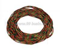 Канитель ОПТ FIBER FANCY (медь+нейлон) 1,7 мм гладкая упругая, цвет green/orange multi (зеленый/оранжевый мультиколор) 50 граммов (около 18 метров) 058175 - 99 бусин