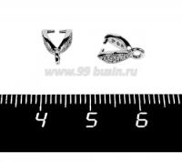 Держатель для кулона Премиум Лодочка с микроцирконами 10*3 мм родированный 1 штука 058191 - 99 бусин