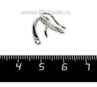 Швензы Премиум Крючок с микроцирконами, 16*9*3 мм, родированные, 1 пара 058217 - 99 бусин