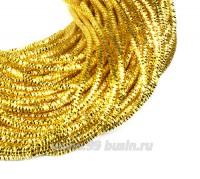 Трунцал (витая канитель) 1,5 мм, цвет одуванчик MN-04, пр-во Индия, упаковка 5 грамм (разные отрезки, общая длина около 2,5 метров) 058227 - 99 бусин