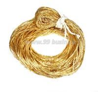 Трунцал ОПТ (витая канитель) 1,5 мм, цвет MN-03 золото, Индия, упаковка 50 грамм (разные отрезки, общая длина около 31 метра) 058228 - 99 бусин
