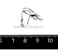 Швензы Премиум Крючок Ромбик с микроцирконами, 16*9*3 мм, родированные 1 пара 058233 - 99 бусин