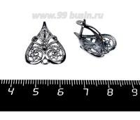Швензы ювелирные Пиковая дама 18*20 мм, черное оксидированное посеребрение 6 мк, 1 пара, производство Россия 058251 - 99 бусин