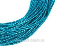 Канитель SLIM FANCY 1,3 мм гладкая упругая, цвет turquoise metal (морская волна металлик) 5 граммов (около 2,3 метров) 058291 - 99 бусин