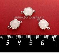 Коннектор Премиум Квадрат 15*9 мм ювелирное стекло, белый опал/платина 1 штука 058295 - 99 бусин