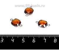 Коннектор Премиум Квадрат 15*9 мм ювелирное стекло, коньячный/платина 1 штука 058300 - 99 бусин