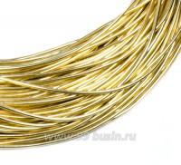 Канитель гладкая глянцевая 1 мм, цвет MD-03 светлое золото Индия, упаковка 5 граммов (разные отрезки, общая длина около 2,8 метров) 058303 - 99 бусин
