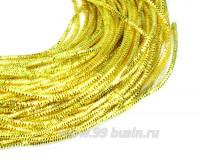 Трунцал (витая канитель) 1,5 мм, цвет лимонный MN-09, пр-во Индия, упаковка 5 грамм (разные отрезки, общая длина около 2,7 метров) 058319 - 99 бусин