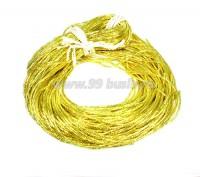 Трунцал ОПТ (витая канитель) 1,5 мм, цвет MN-09 лимонный, Индия, упаковка 50 грамм (разные отрезки, общая длина около 31 метра) 058321 - 99 бусин