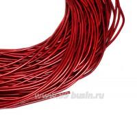 Канитель гладкая глянцевая 1 мм, цвет MD-10 красный, пр-во Индия, упаковка 5 граммов (разные отрезки, общая длина около 2,6 метра) 058341 - 99 бусин