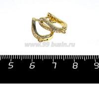 Швензы Премиум Петелька из бесцветных микроцирконов, 16*13*5 мм, позолота 1 пара Китай 058370 - 99 бусин