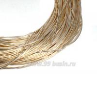 Канитель гладкая глянцевая 1 мм, цвет MD-02 светлое золото, пр-во Индия, упаковка 5 граммов (разные отрезки, общая длина около 2,6 метра) 058401 - 99 бусин